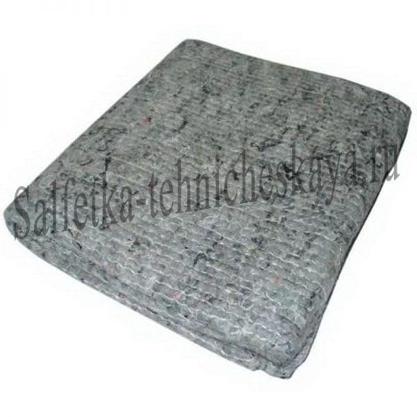 Тряпка для пола из ХПП (серая) 40х75 см. (оверлог) в инд. пак.